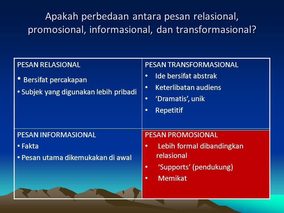 Apakah perbedaan antara pesan relasional, promosional, informasional, dan transformasional