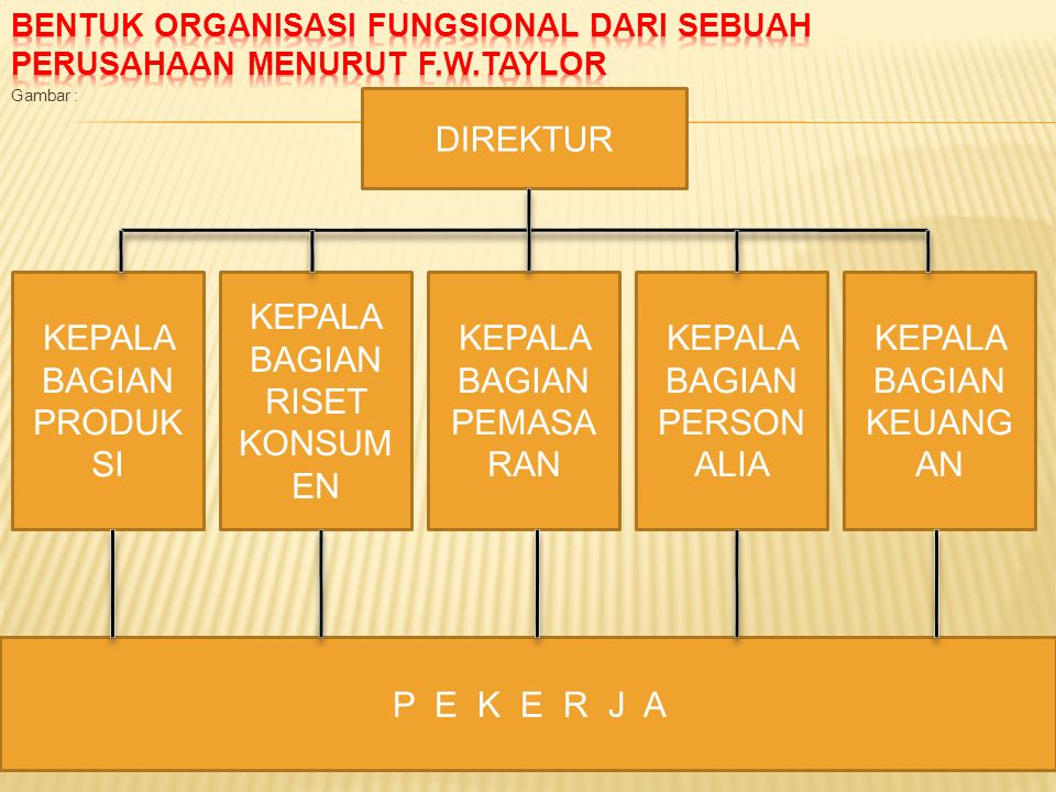Bentuk organisasi fungsional dari sebuah perusahaan menurut F.W.Taylor