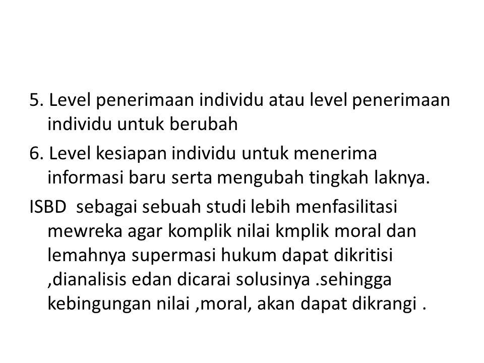 5. Level penerimaan individu atau level penerimaan individu untuk berubah 6.