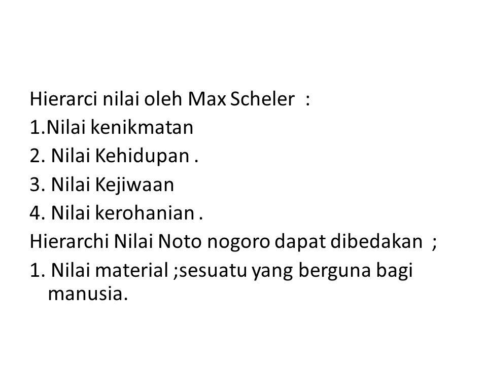 Hierarci nilai oleh Max Scheler : 1. Nilai kenikmatan 2