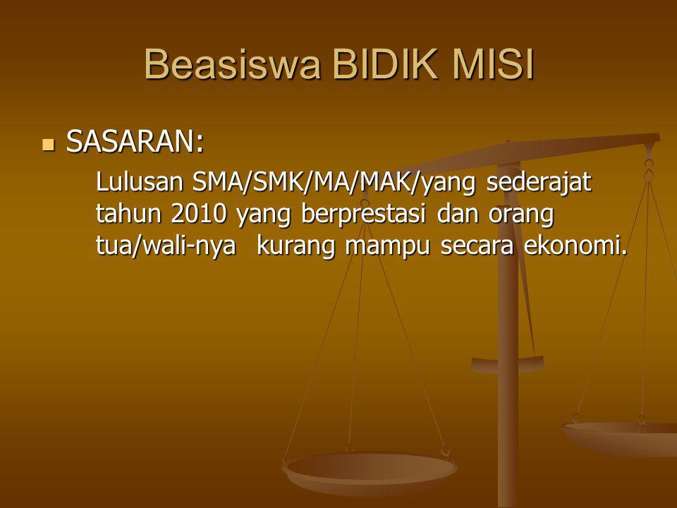 Beasiswa BIDIK MISI SASARAN: