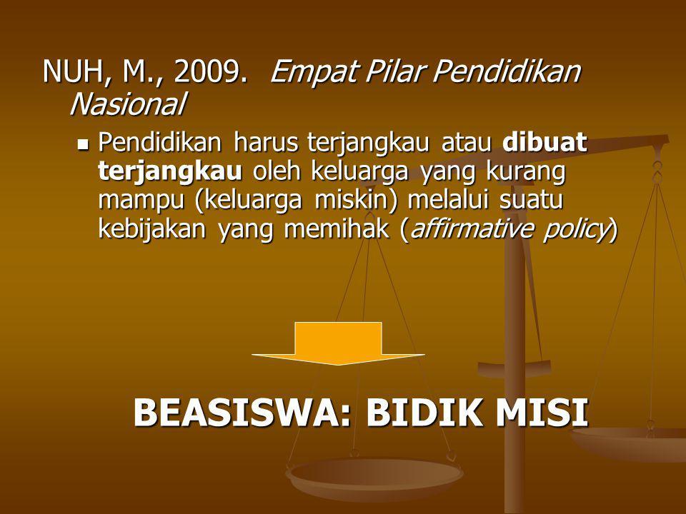 BEASISWA: BIDIK MISI NUH, M., 2009. Empat Pilar Pendidikan Nasional