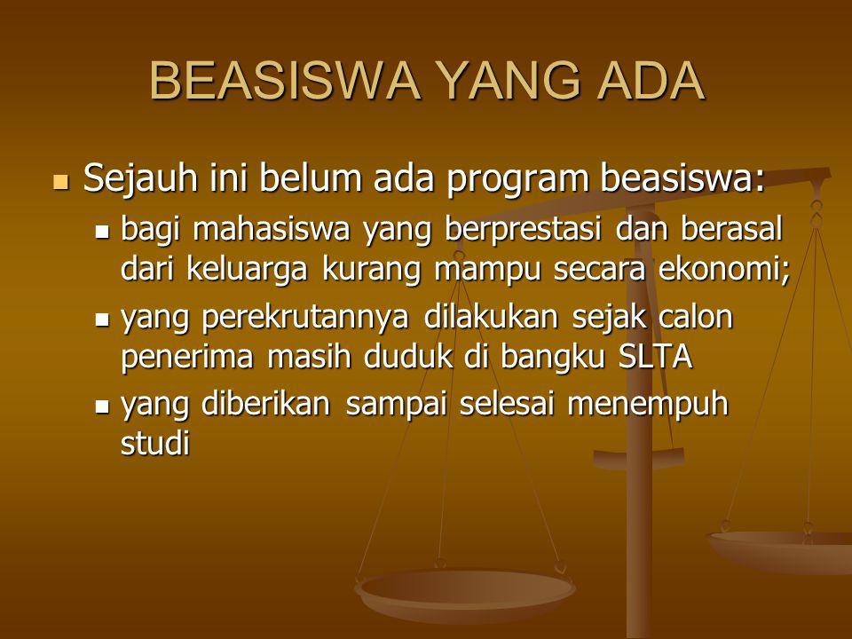 BEASISWA YANG ADA Sejauh ini belum ada program beasiswa: