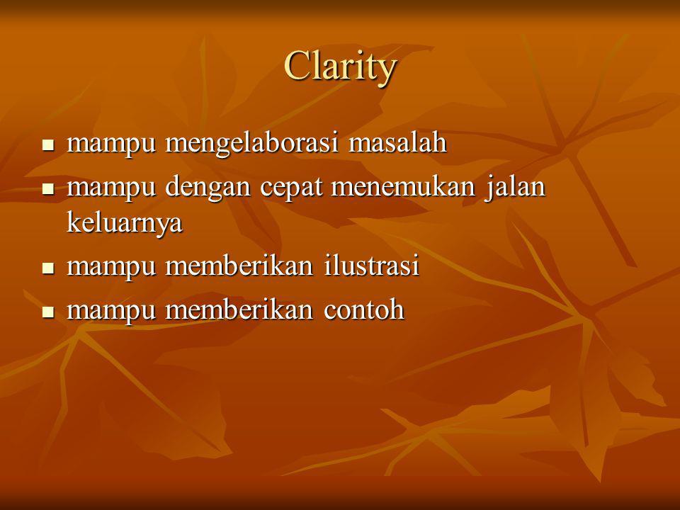 Clarity mampu mengelaborasi masalah