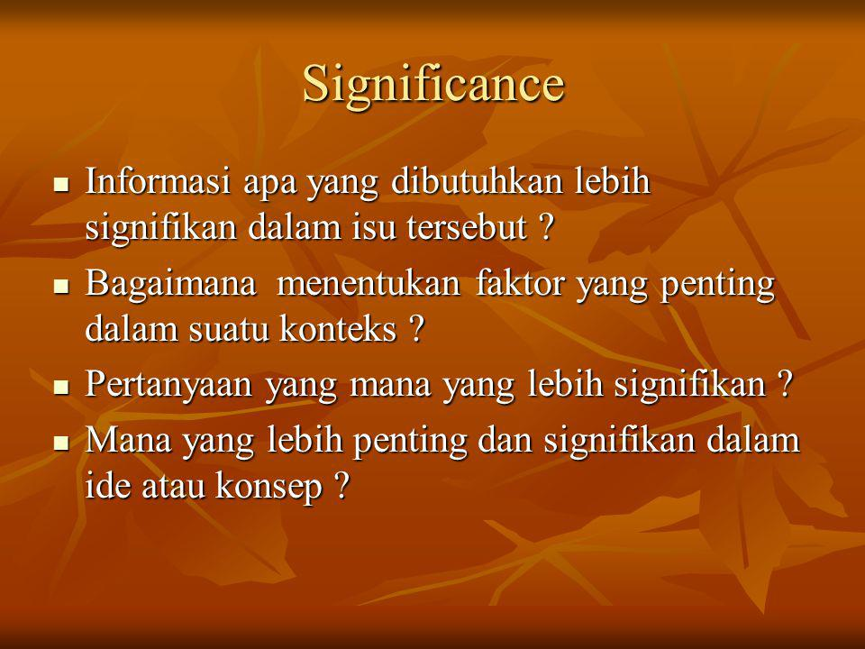 Significance Informasi apa yang dibutuhkan lebih signifikan dalam isu tersebut Bagaimana menentukan faktor yang penting dalam suatu konteks