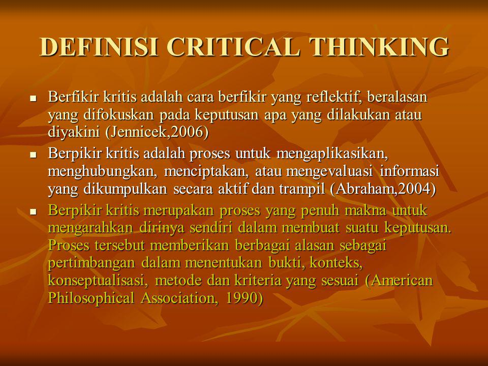 DEFINISI CRITICAL THINKING