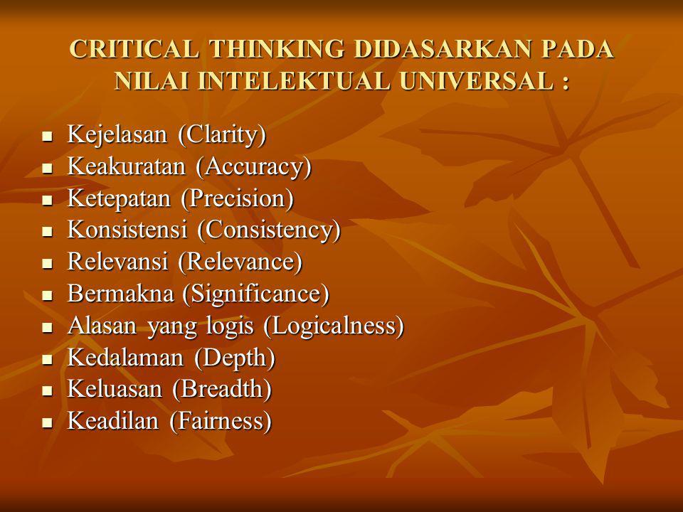 CRITICAL THINKING DIDASARKAN PADA NILAI INTELEKTUAL UNIVERSAL :