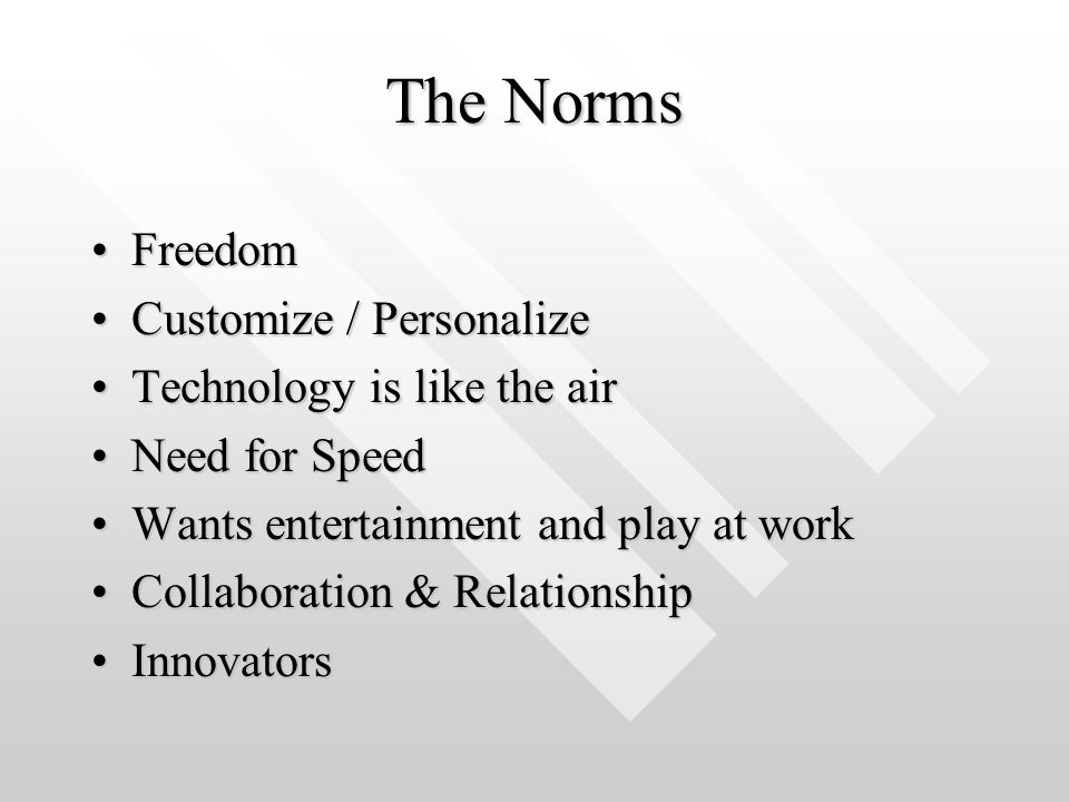 The Norms Freedom Customize / Personalize Technology is like the air