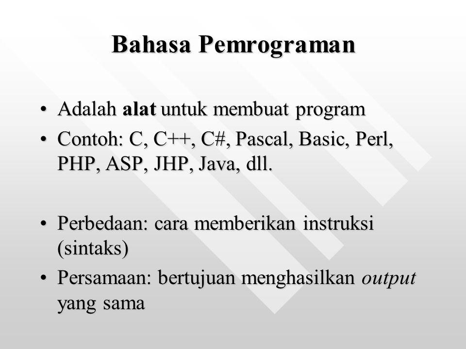 Bahasa Pemrograman Adalah alat untuk membuat program