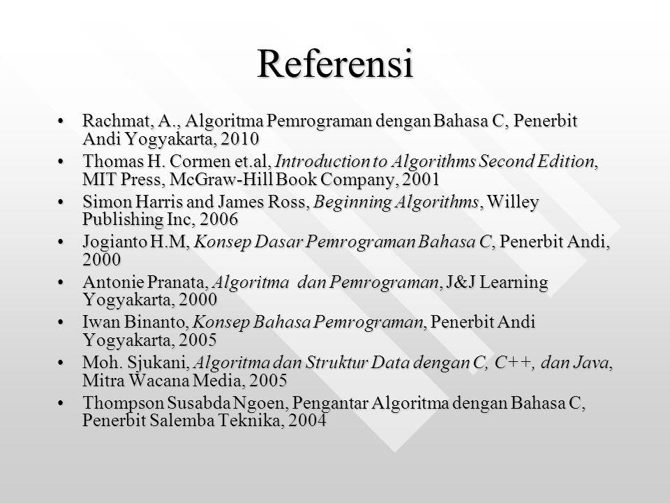 Referensi Rachmat, A., Algoritma Pemrograman dengan Bahasa C, Penerbit Andi Yogyakarta, 2010.