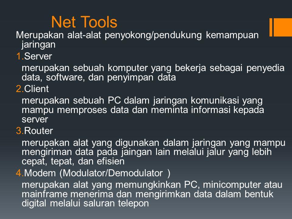 Net Tools Merupakan alat-alat penyokong/pendukung kemampuan jaringan