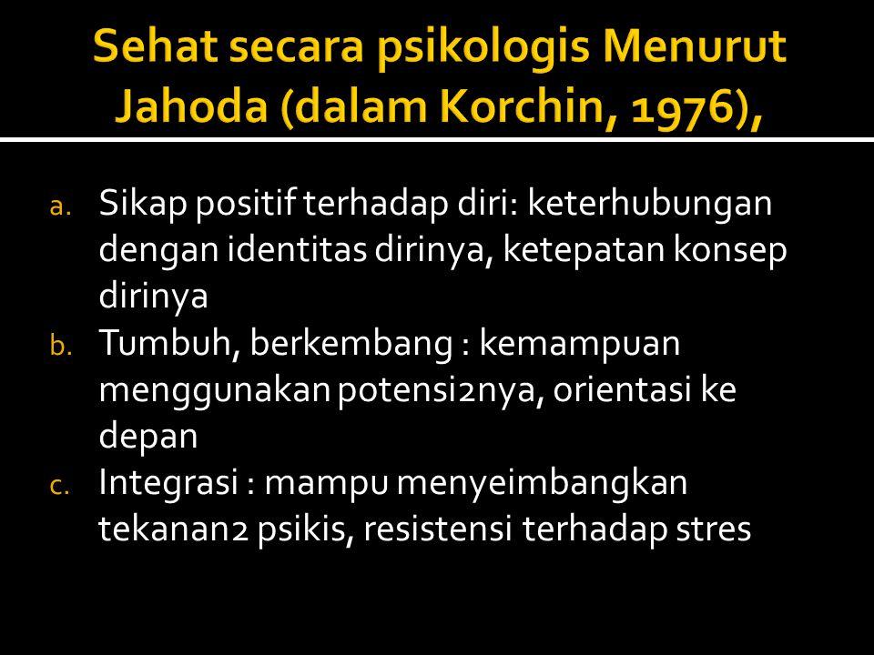 Sehat secara psikologis Menurut Jahoda (dalam Korchin, 1976),