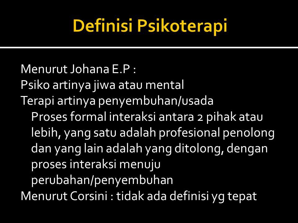 Definisi Psikoterapi Menurut Johana E.P :