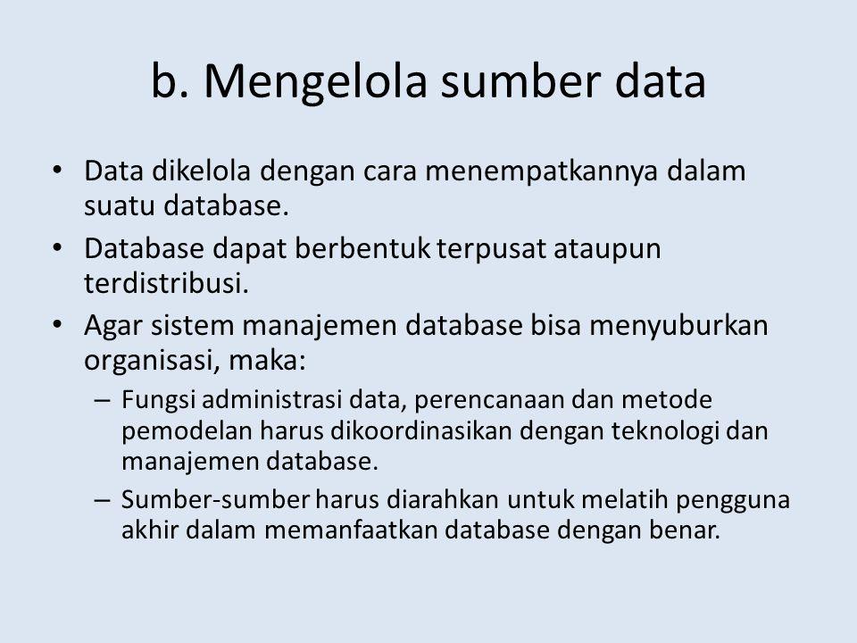 b. Mengelola sumber data