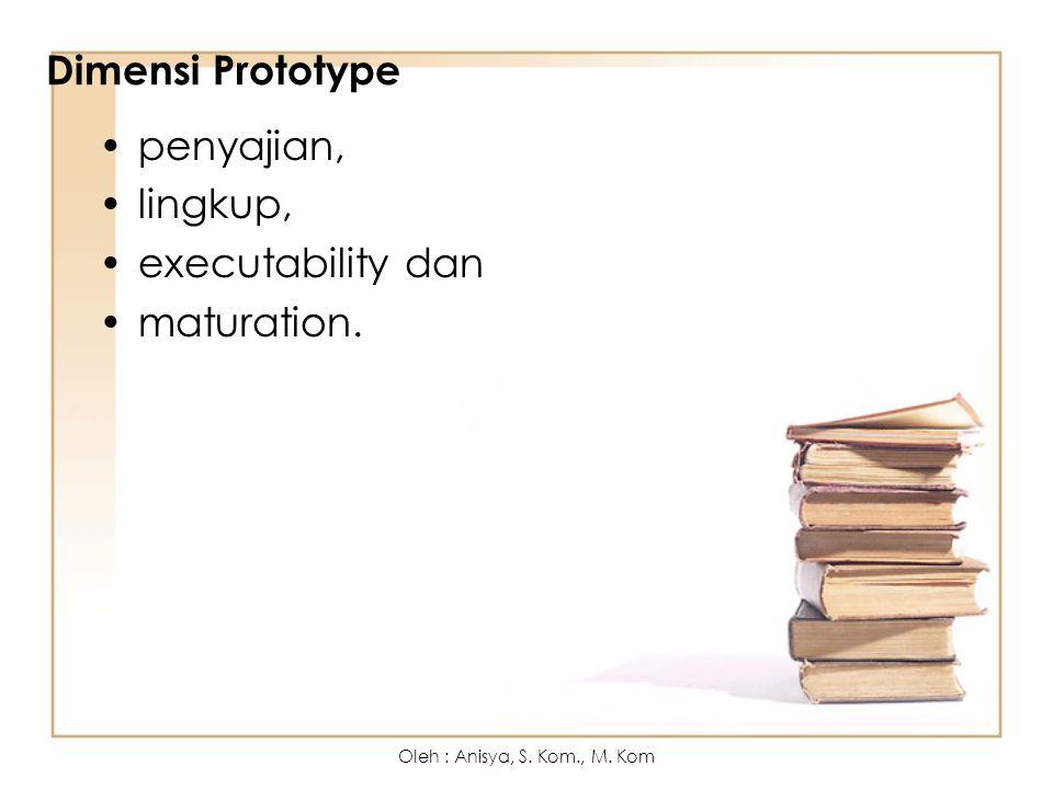 Dimensi Prototype penyajian, lingkup, executability dan maturation.
