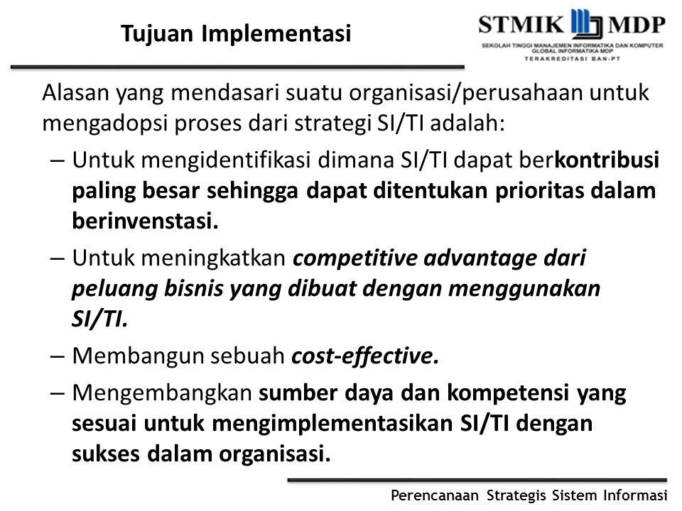 Tujuan Implementasi Alasan yang mendasari suatu organisasi/perusahaan untuk mengadopsi proses dari strategi SI/TI adalah:
