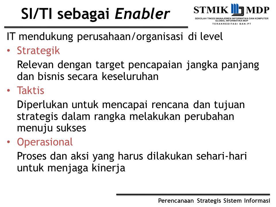 SI/TI sebagai Enabler IT mendukung perusahaan/organisasi di level