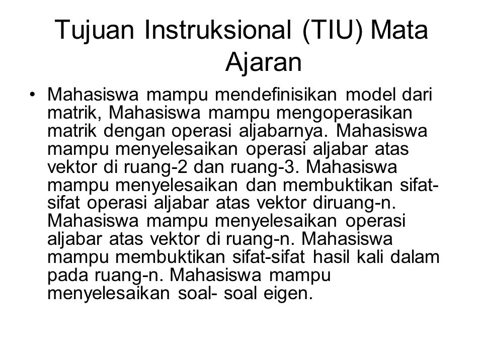 Tujuan Instruksional (TIU) Mata Ajaran