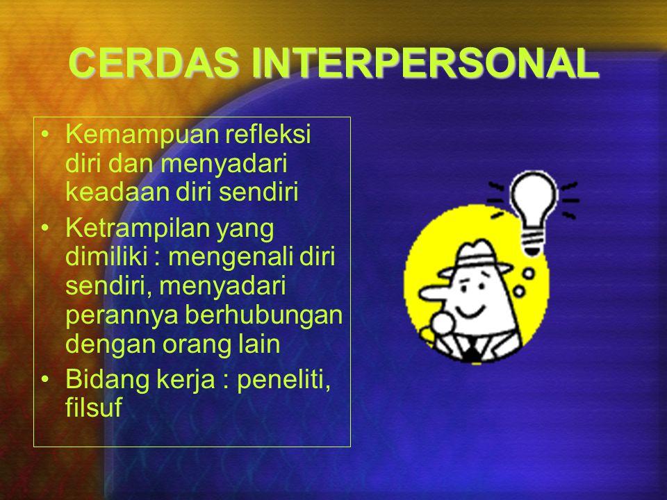 CERDAS INTERPERSONAL Kemampuan refleksi diri dan menyadari keadaan diri sendiri.
