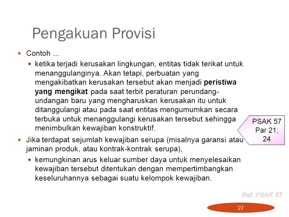 Pengakuan Provisi Contoh ...