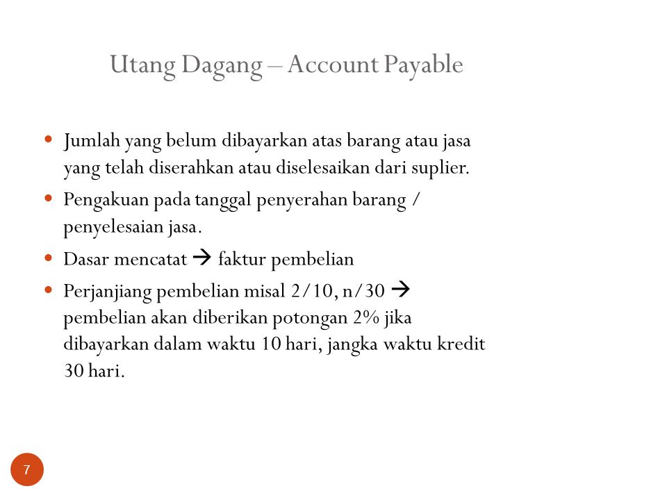 Utang Dagang – Account Payable