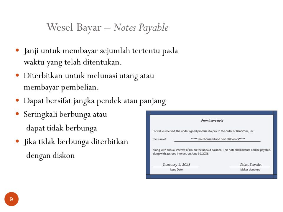 Wesel Bayar – Notes Payable