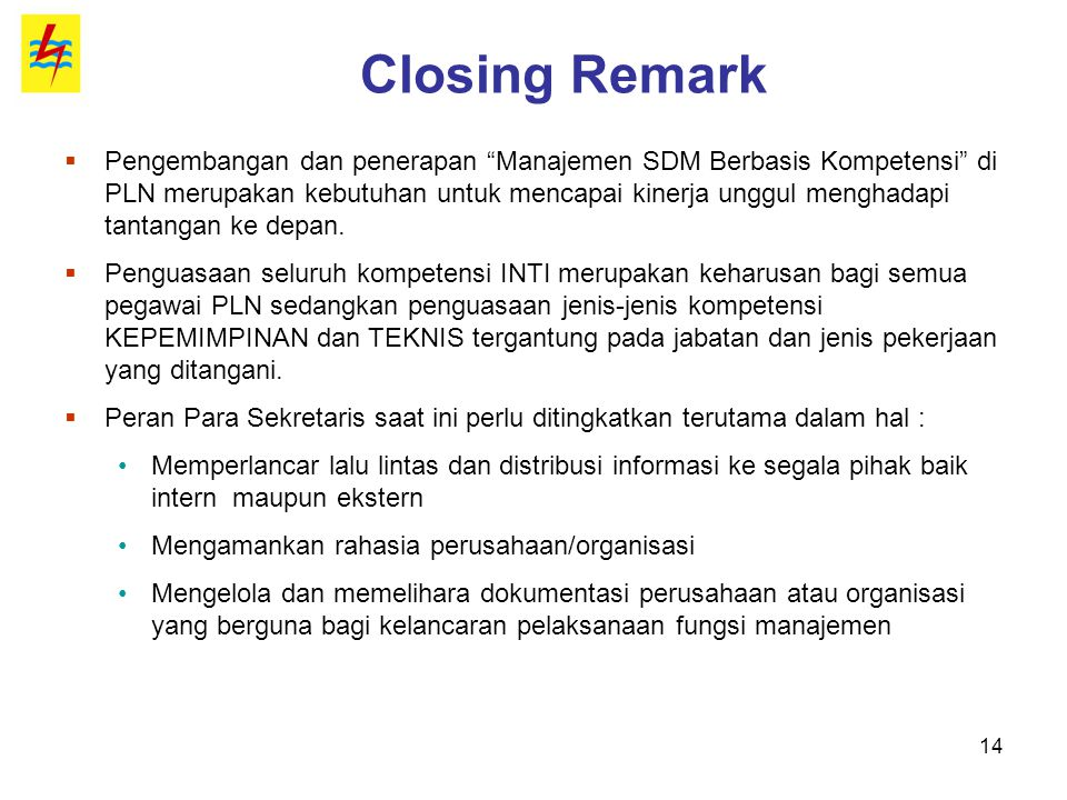 Closing Remark