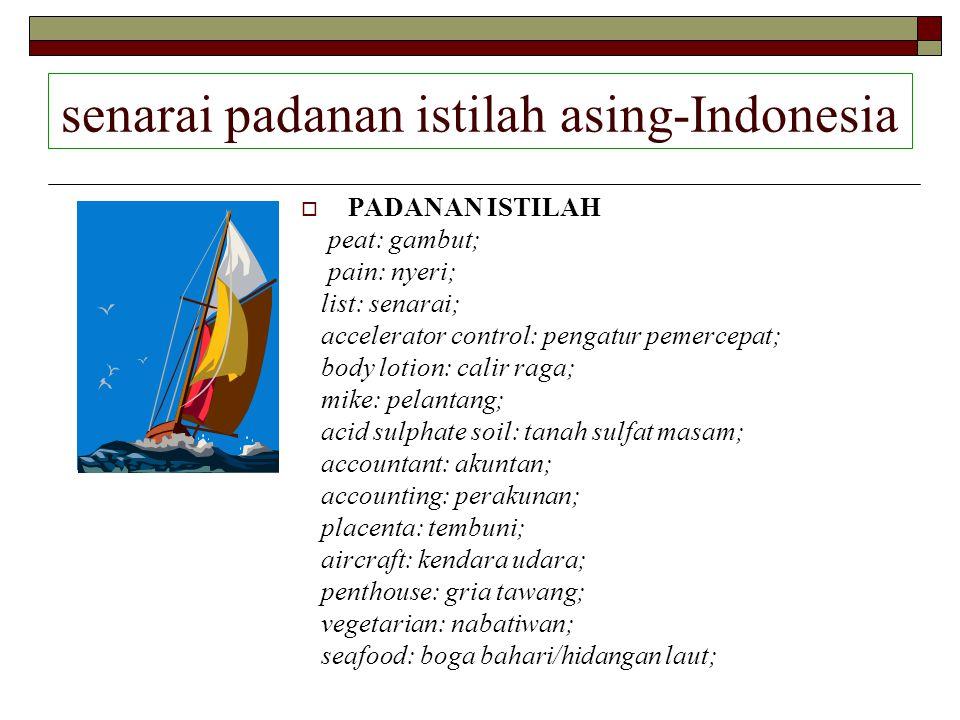 senarai padanan istilah asing-Indonesia