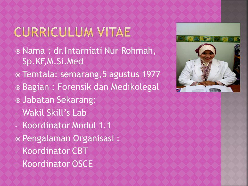 Curriculum vitae Nama : dr.Intarniati Nur Rohmah, Sp.KF,M.Si.Med