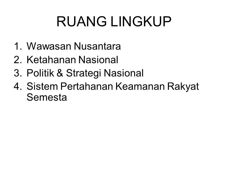 RUANG LINGKUP Wawasan Nusantara Ketahanan Nasional