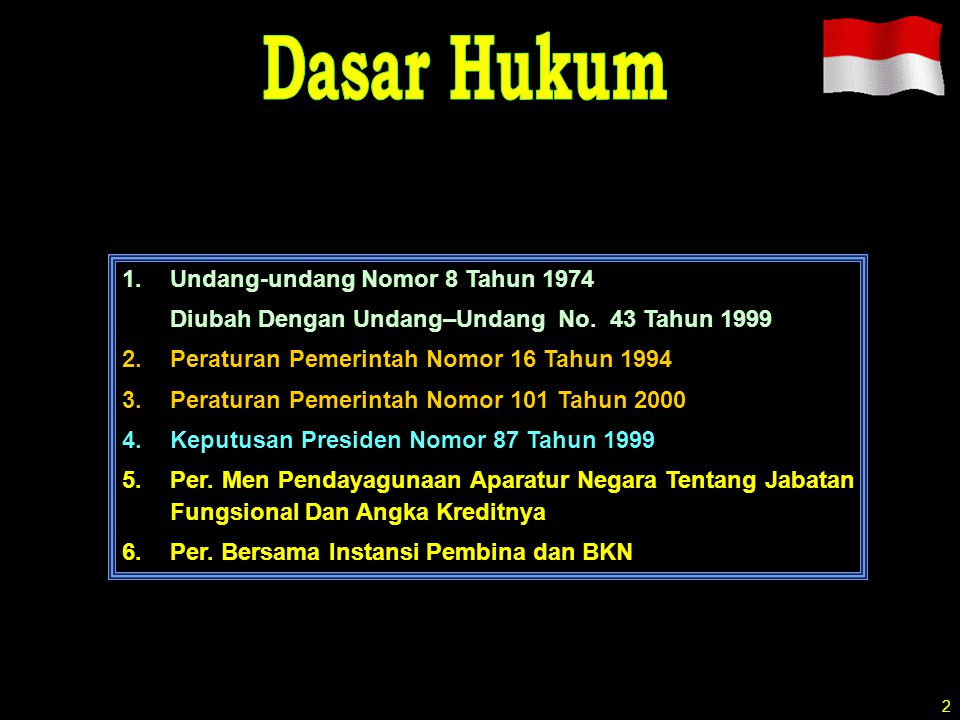 Dasar Hukum Undang-undang Nomor 8 Tahun 1974