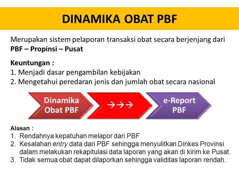 DINAMIKA OBAT PBF Merupakan sistem pelaporan transaksi obat secara berjenjang dari PBF – Propinsi – Pusat.