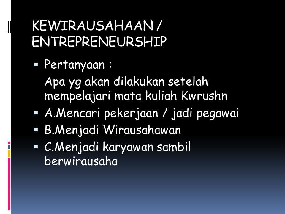 KEWIRAUSAHAAN / ENTREPRENEURSHIP