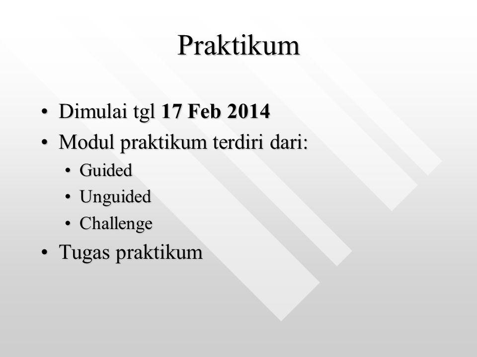 Praktikum Dimulai tgl 17 Feb 2014 Modul praktikum terdiri dari: