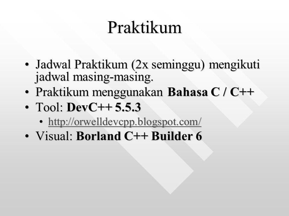 Praktikum Jadwal Praktikum (2x seminggu) mengikuti jadwal masing-masing. Praktikum menggunakan Bahasa C / C++