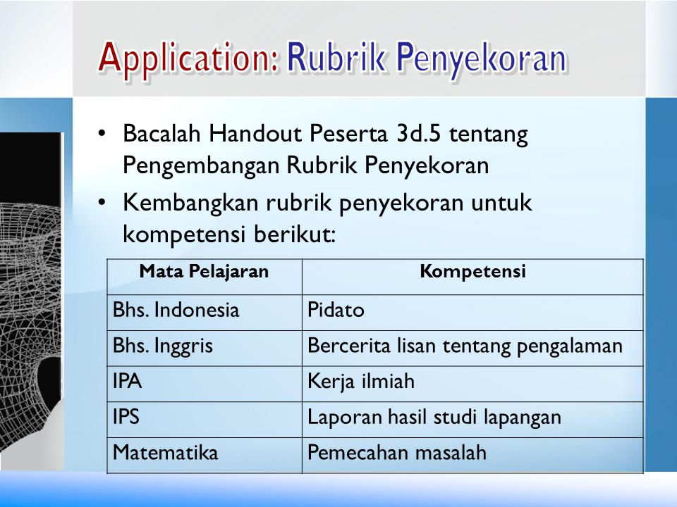 Application: Rubrik Penyekoran