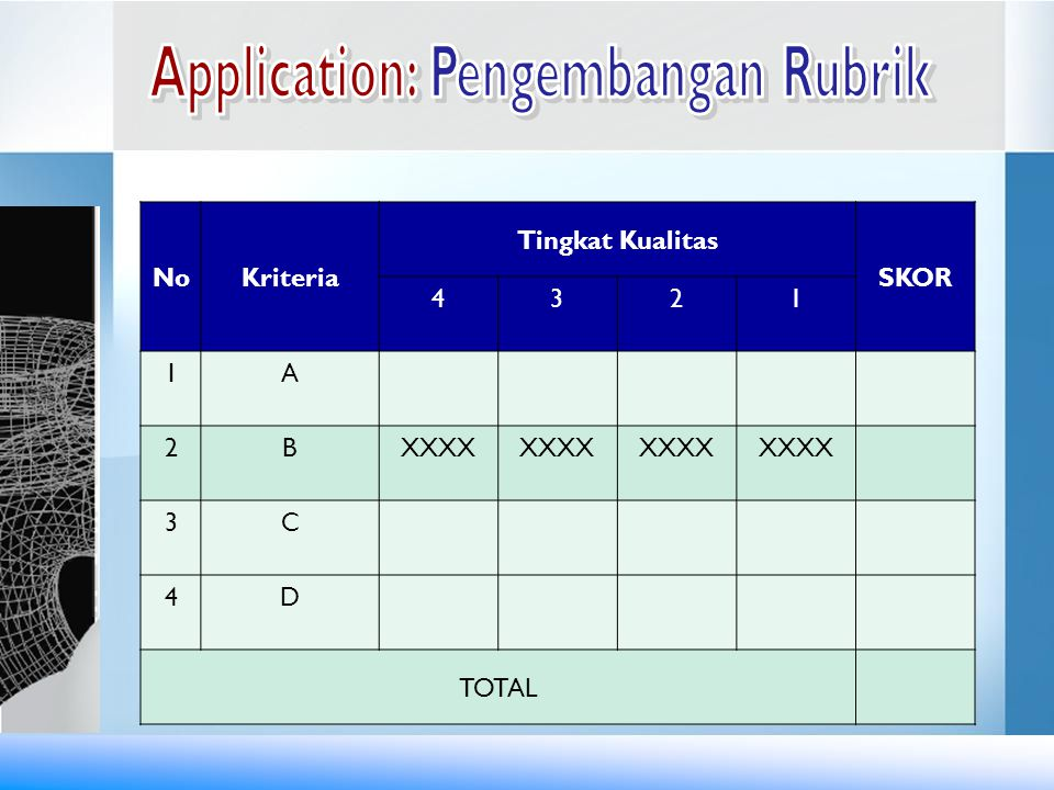 Application: Pengembangan Rubrik