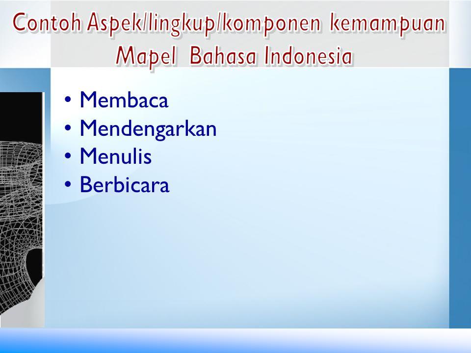 Contoh Aspek/lingkup/komponen kemampuan Mapel Bahasa Indonesia