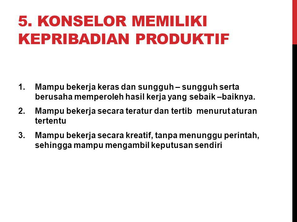 5. Konselor Memiliki kepribadian Produktif