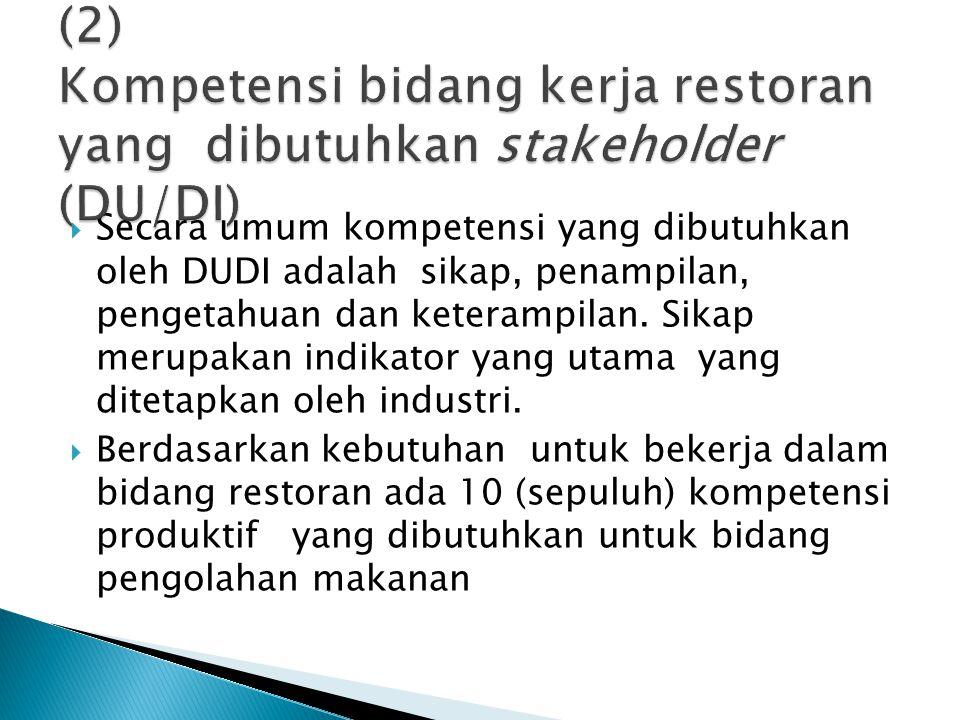 (2) Kompetensi bidang kerja restoran yang dibutuhkan stakeholder (DU/DI)