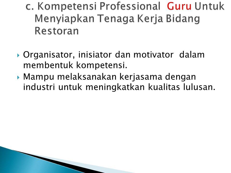 c. Kompetensi Professional Guru Untuk Menyiapkan Tenaga Kerja Bidang Restoran
