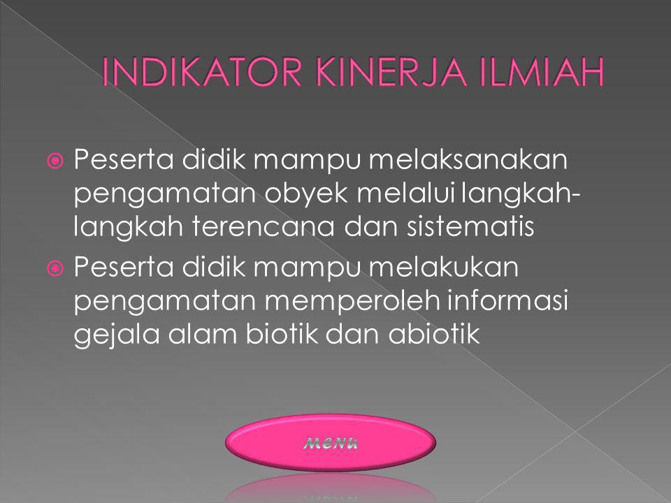 INDIKATOR KINERJA ILMIAH