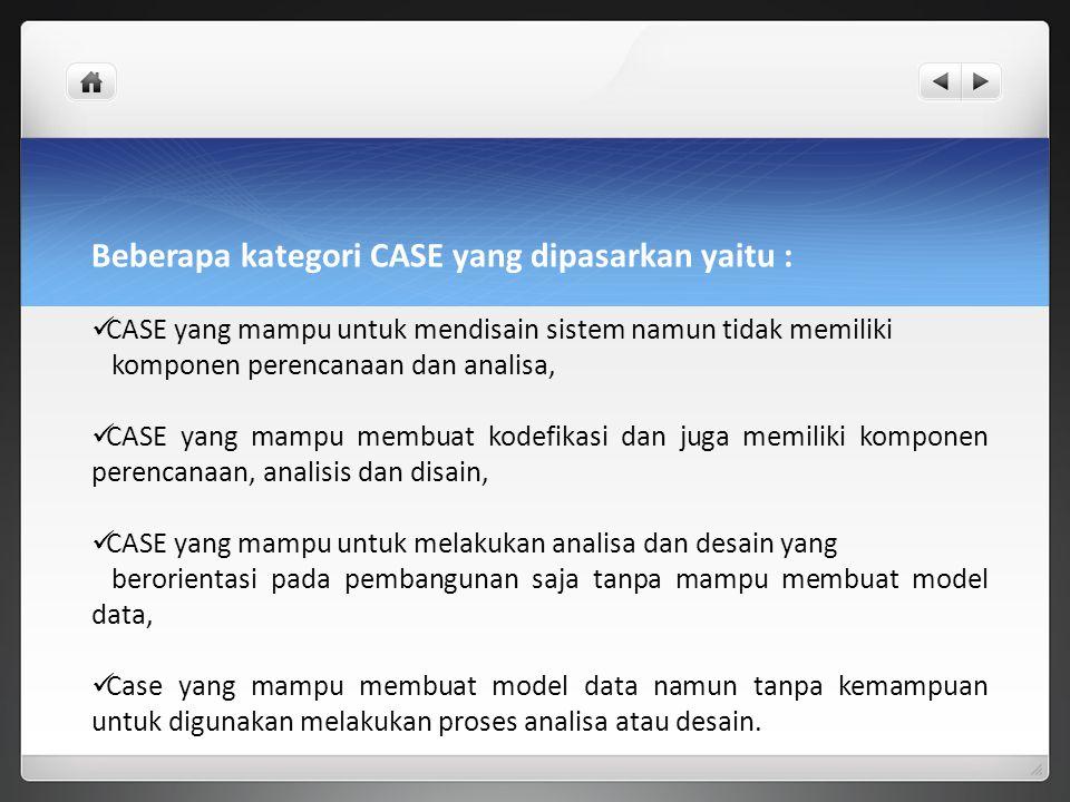 Beberapa kategori CASE yang dipasarkan yaitu :