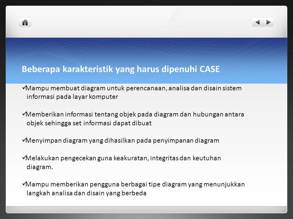 Beberapa karakteristik yang harus dipenuhi CASE