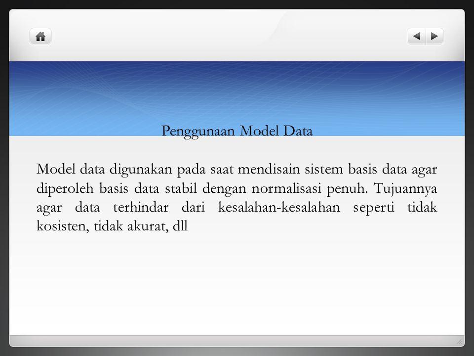 Penggunaan Model Data