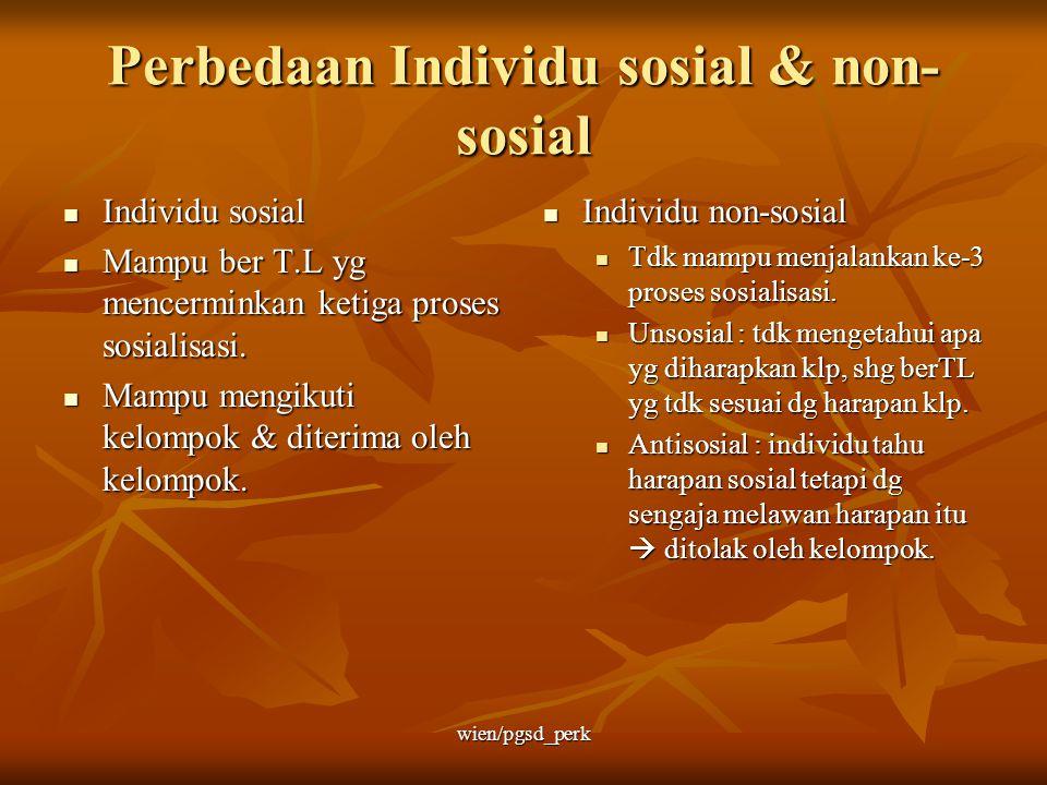 Perbedaan Individu sosial & non-sosial