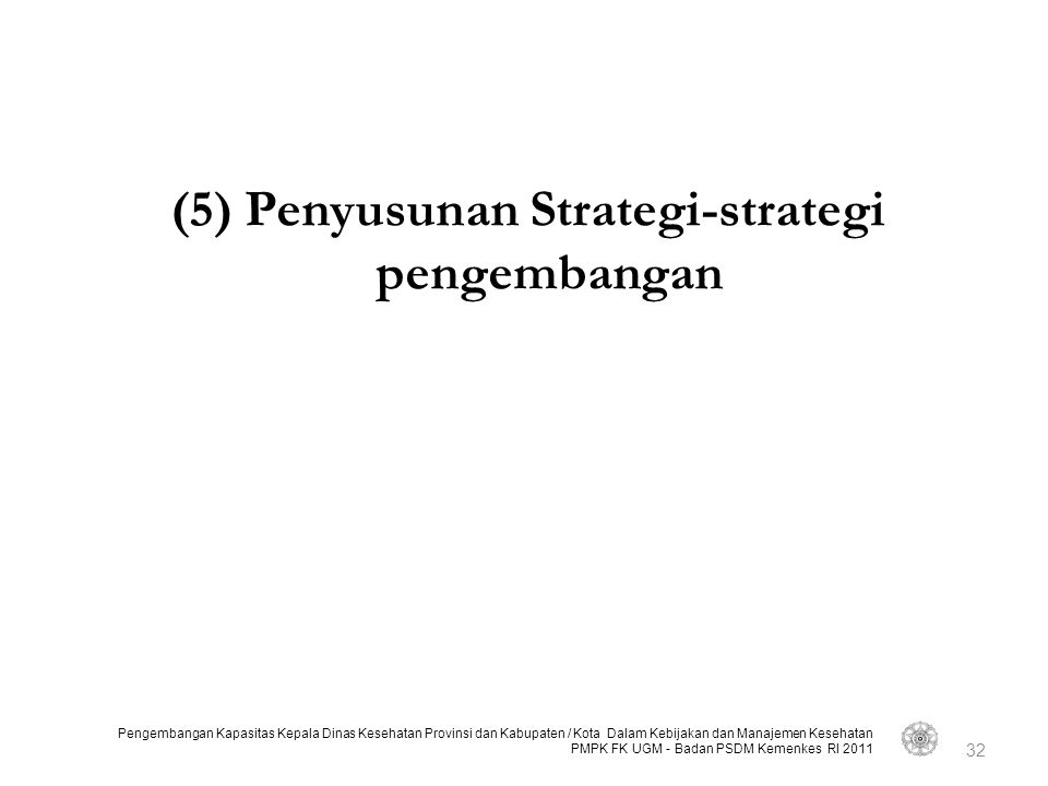 (5) Penyusunan Strategi-strategi pengembangan