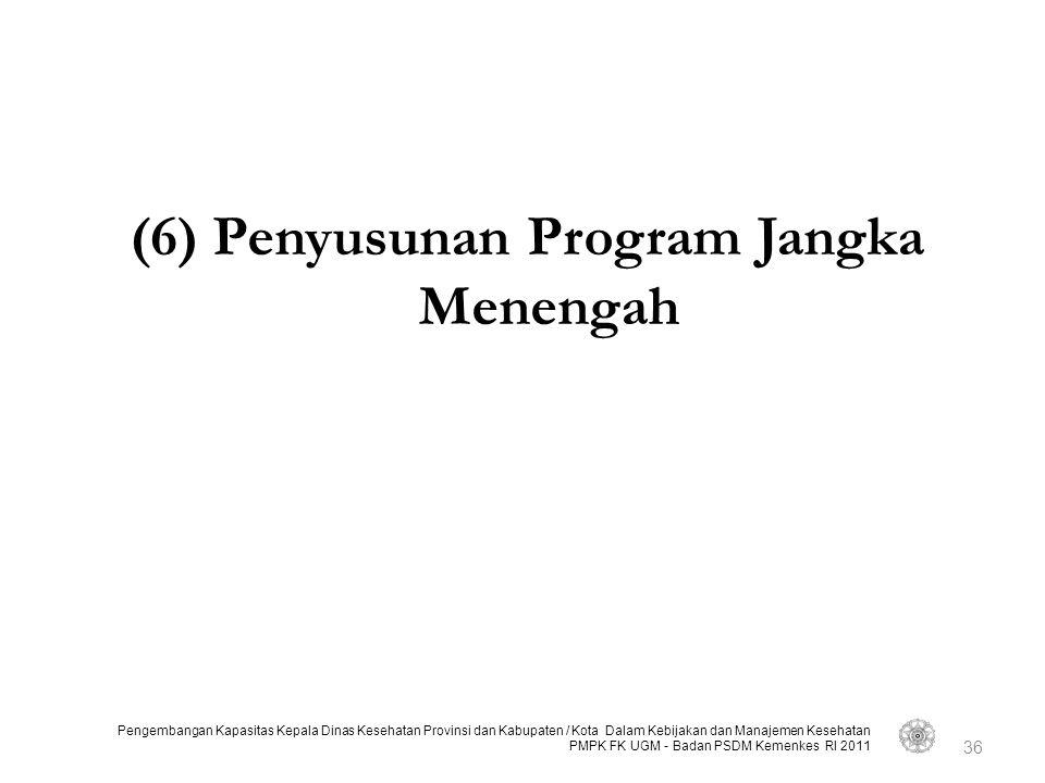 (6) Penyusunan Program Jangka Menengah