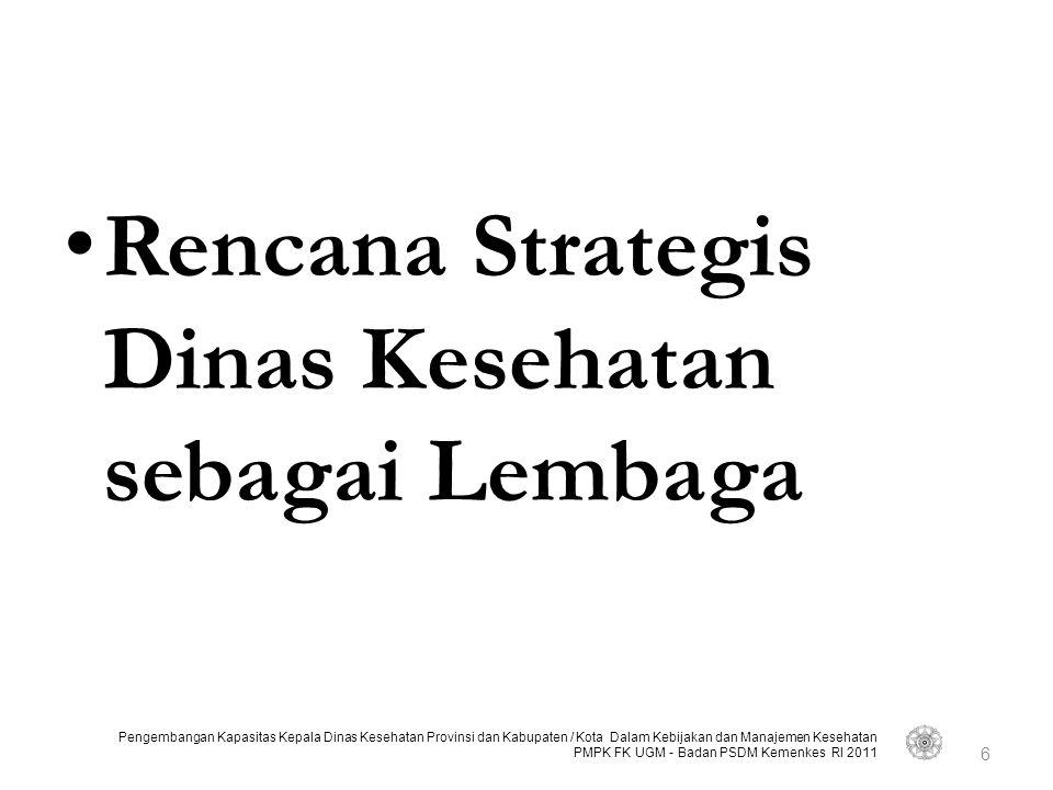 Rencana Strategis Dinas Kesehatan sebagai Lembaga