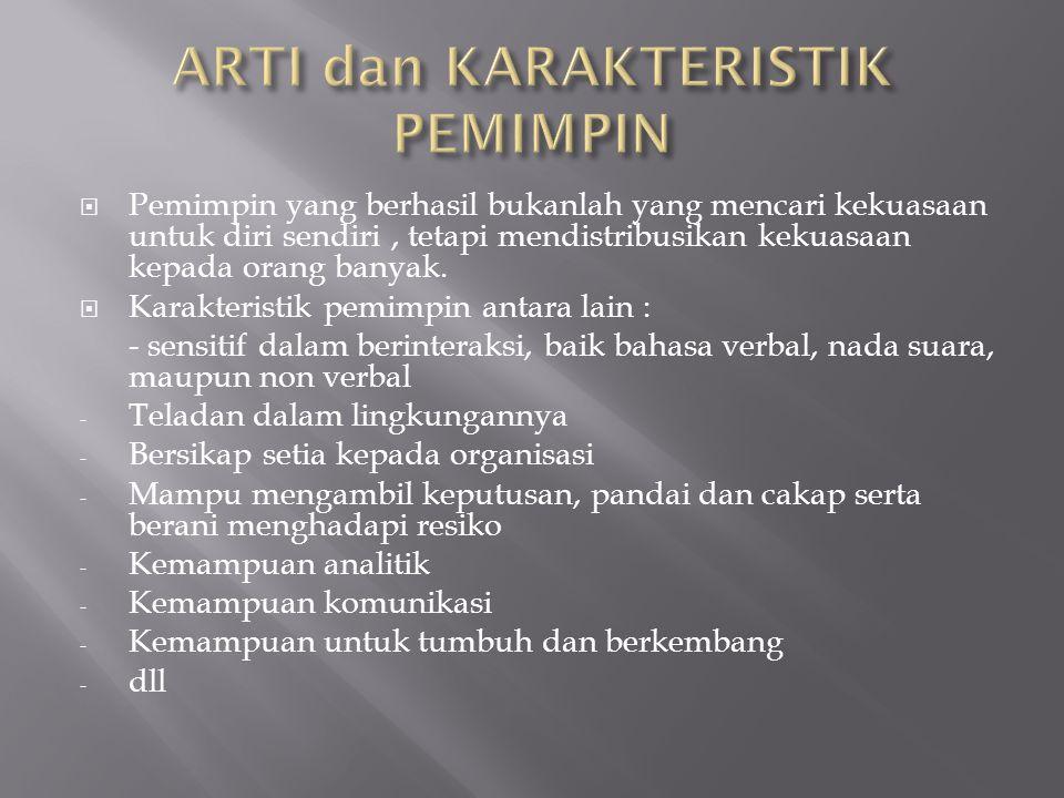 ARTI dan KARAKTERISTIK PEMIMPIN